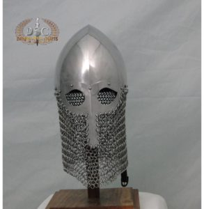 DSC-H304 VIKING COMBAT HELMET WITH CHAINMAIL AVENTAIL